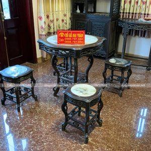 Tổng thể bộ bàn ghế gỗ trắc cổ cực đẹp