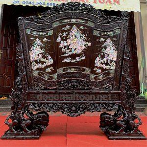 Bình phong cuốn thư gỗ gụ khảm ốc singapore