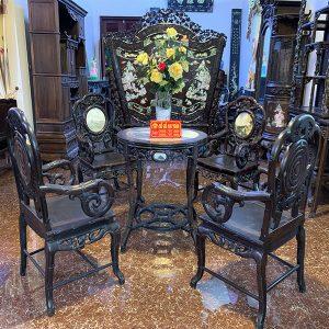 Bộ bàn ghế trúc nho gỗ trắc 5 món