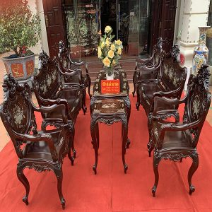 Bộ bàn ghế louis gỗ gụ đục tay khảm ốc 9 món cực đẹp
