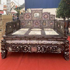 Giường ngũ sơn gỗ trắc khảm ốc 3 thành cực đẹp