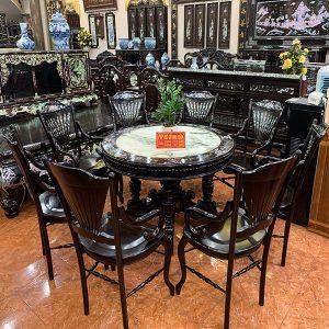 Bộ bàn ghế ăn rẻ quạt miền tây khảm ốc cực đẹp chất liệu gỗ gụ