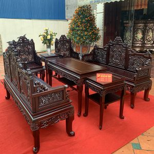 Bộ bàn ghế trường kỷ ngũ lân vờn cầu 7 món siêu phẩm đồ gỗ Mai Toàn