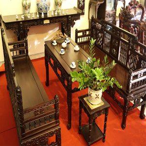 Bộ bàn ghế trường kỷ song tiện Huế gỗ gụ cực đẹp