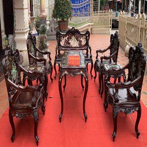 Siêu phẩm bộ bàn ghế louis gỗ trắc khảm ốc cực đẹp và sang trọng có 1 0 2