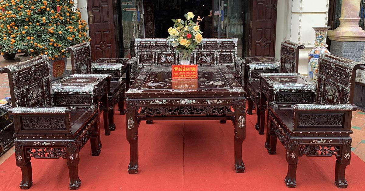 Bộ bàn ghế Trường kỷ Huế 10 món gỗ gụ khảm ốc cực đẹp