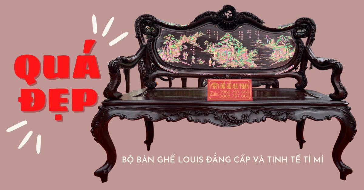 Siêu phẩm bộ bàn ghế louis gỗ trắc khảm ốc Singapore cực đẹp