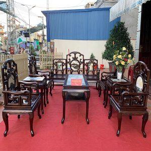 Bộ bàn ghế móc mỏ gỗ trắc 8 món MT2 siêu đẹp và sang trọng