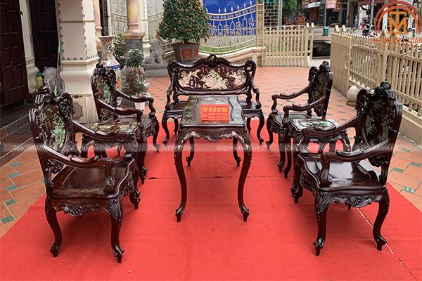 Bộ bàn ghế louis khảm ốc gỗ trắc siêu vip