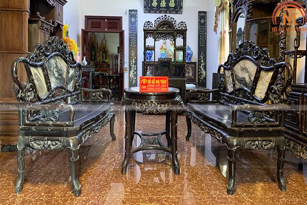 bộ bàn ghế phương trúc nho gỗ trắc