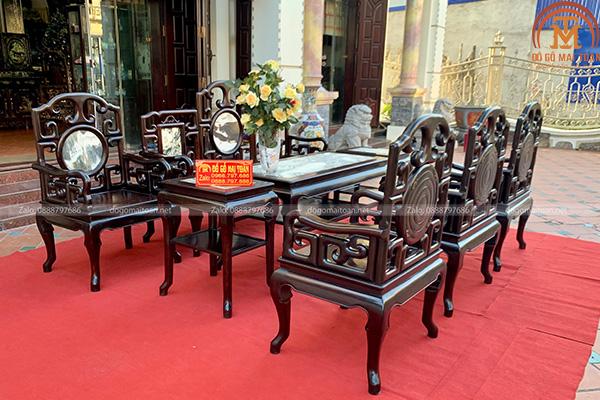 Bộ bàn ghế móc mỏ gỗ trắc