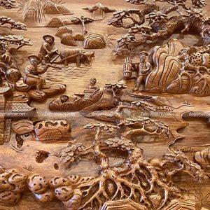 tranh gỗ đục đồng quê