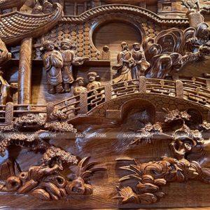 tranh vinh quy bái tổ gỗ hương