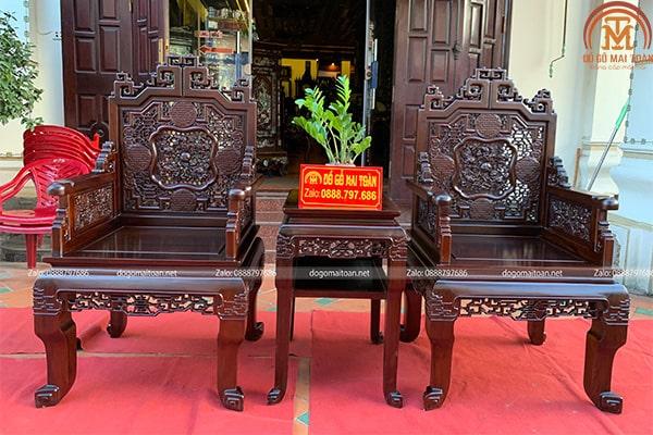 Cặp ghế đơn và kẹp của bộ trường kỷ Huế gỗ gụ