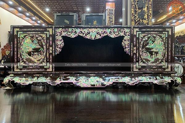 Tủ chè khảm tích Văn Vương Cầu Hiền - Lã Vọng Câu Cá