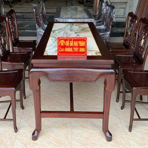 Tổng thể bộ bàn ghế ăn gỗ gụ 7 món cực sang trọng